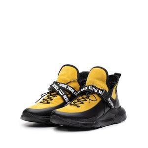 Sneakers dama din piele naturala,Leofex - 288 Negru+mustar box velur