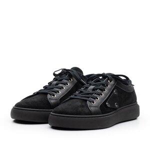 Sneakers dama din piele naturala,Leofex - 309 negru velur+box