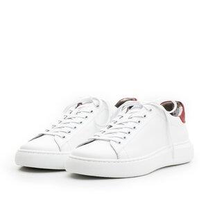 Sneakers dama din piele naturala,Leofex - 310 alb+rosu box