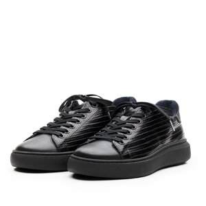 Sneakers dama din piele naturala,Leofex - 310 Negru box presat