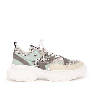 Sneakers dama din piele naturala,Leofex - 313 Crem+verde box mash